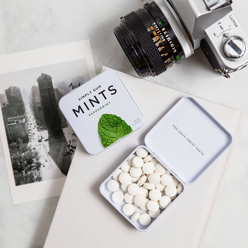 Minimalistic All-Natural Premium Mints & Reusable Tin Box