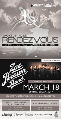 Jackson Hole Rendezvous Spring 2017 Festival featuring Zac Brown Band poster