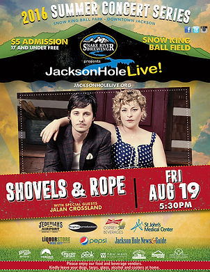 The 2016 Jackson Hole Live summer concert series featuring Shovels & Rope poster