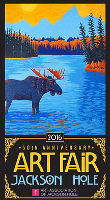 Beautiul moose and Snake River painting featured on the 2016 Jackson Hole Art Fair poster