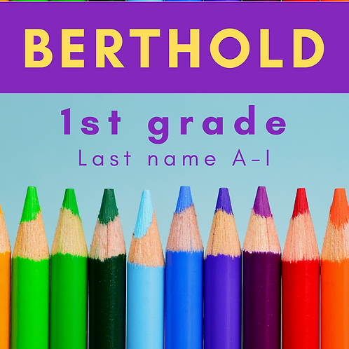 Berthold First Grade School Supply Package, Last name A-I