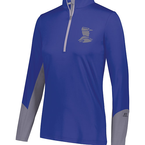 T - Ladies Russell Hybrid Pullover, Royal