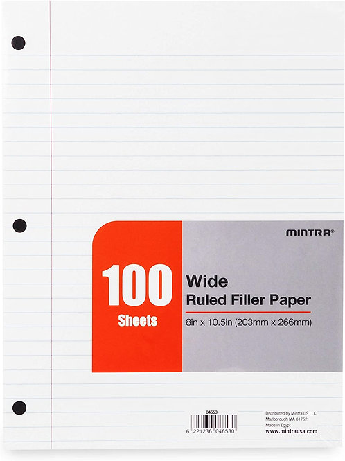 Wide-ruled Loose Leaf Paper, 100 Sheets, 3-Hole-Punched