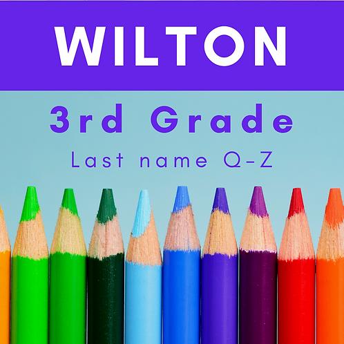 Wilton Third Grade School Supply Package, Last name Q-Z