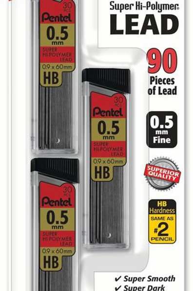 Pentel Lead Refill (0.5mm) 30 pcs/Tube, 3-Pack
