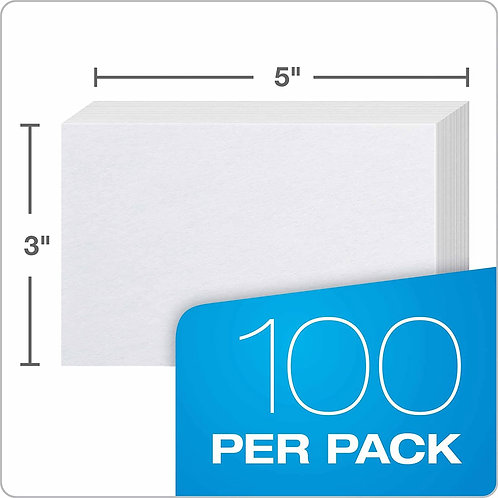 Index Cards, 3 X 5, Unlined, 100 pack