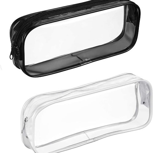 Pencil pouch, Clear, Black or white lining