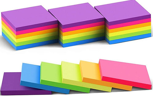 """Sticky notes, 3""""x3"""", One of six colors, 75 sheets"""