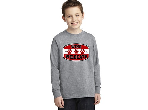Wing Wildcats Long Sleeve Youth T-Shirt, Heather