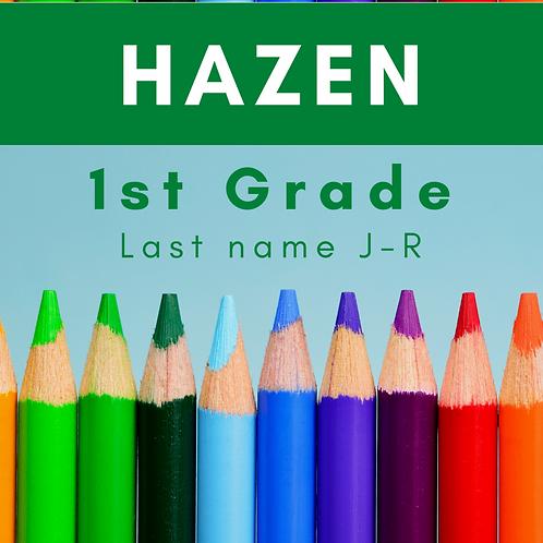 Hazen First Grade School Supply Package, last name J-R