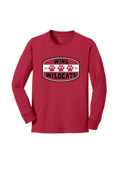 Wing Wildcats Long Sleeve Youth T-Shirt, Red