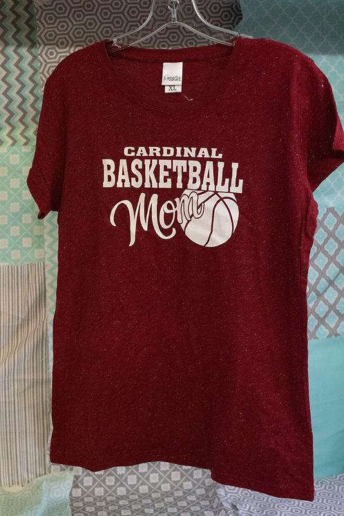 Cardinal Basketball Mom Glitter T-Shirt