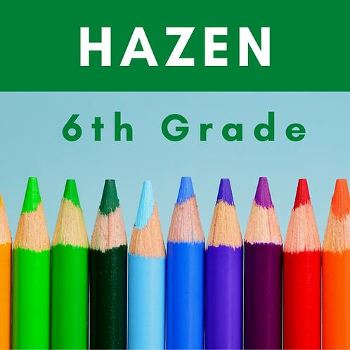 Hazen Sixth Grade School Supply Package