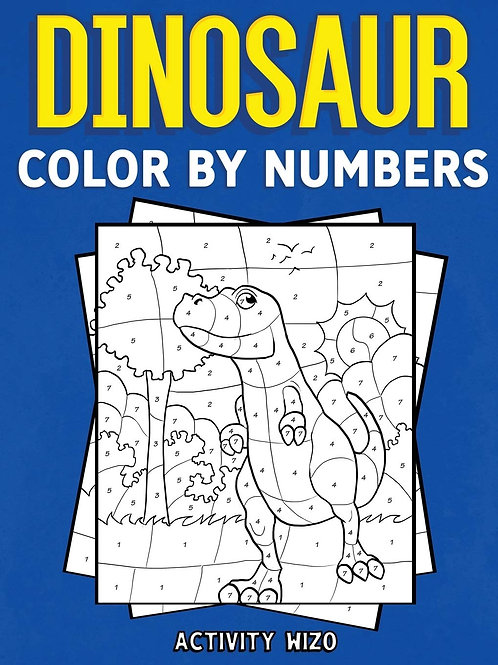 Coloring Book, Color-By-Number Dinosaurs