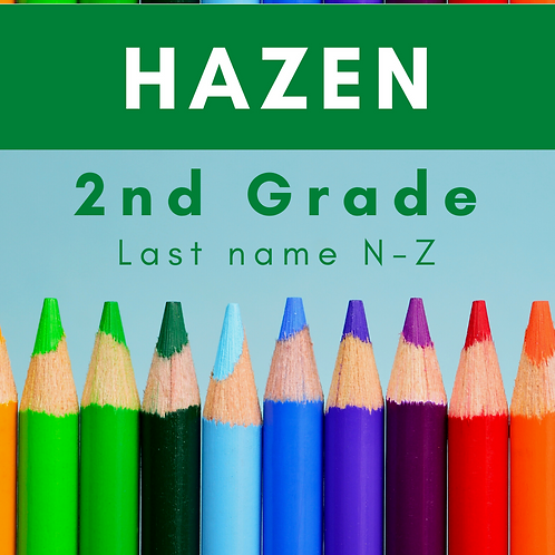 Hazen Second Grade School Supply Package, last name N-Z