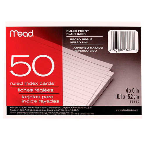 Ruled Index Cards, 50-pack
