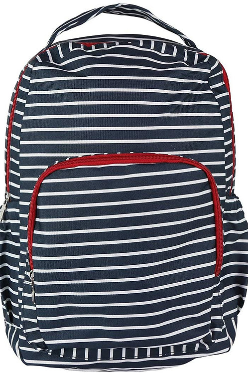 Mary Square Backpack Nautical Red, Navy and White Stripe