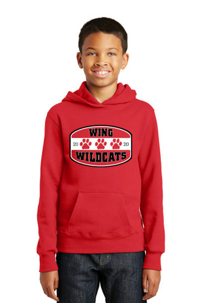 Wing Wildcats Youth Hoodie, Red