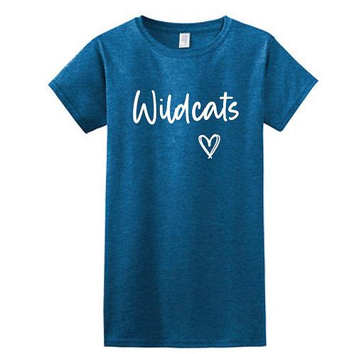 Ladies Center-Stanton Wildcats Heart T-Shirt