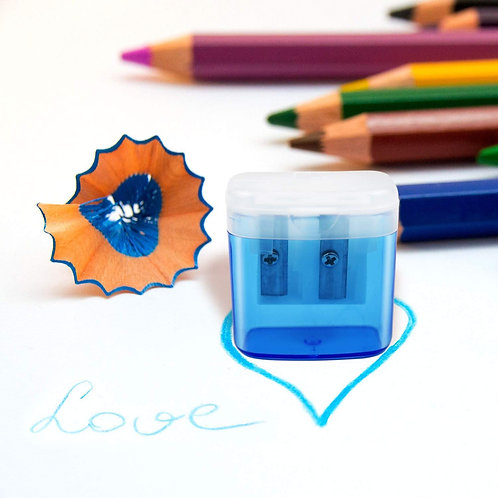 Double Hole Pencil Sharpener with Lid
