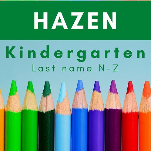 Hazen Kindergarten School Supply Package, last name N-Z