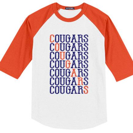 L - Cougars Three Quarter Sleeve, Orange