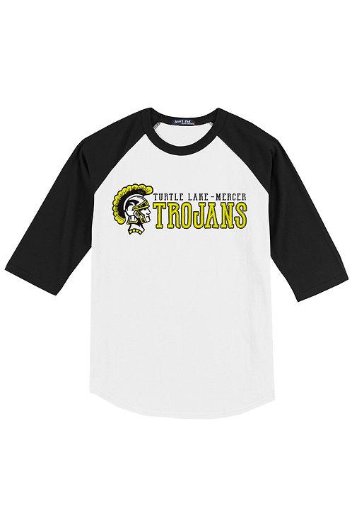 M - Turtle Lake-Mercer Trojans Three Quarter Sleeve, Black