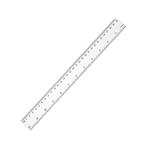 Ruler, Clear Plastic, 12 Inches, Inch and Centimeter