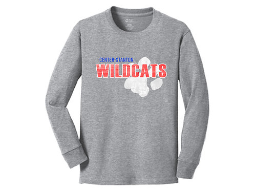Center-Stanton Wildcats Youth Long Sleeve T-shirt, Heather