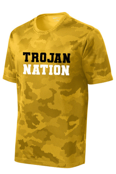 Q - Trojan Nation CamoHex T-shirt, Gold