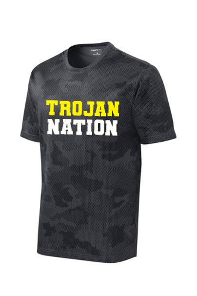 R - Trojan Nation CamoHex T-shirt, Iron Grey