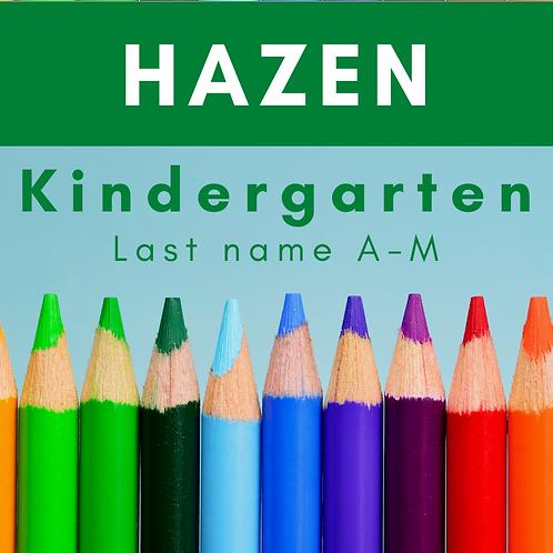 Hazen Kindergarten School Supply Package, last name A-M
