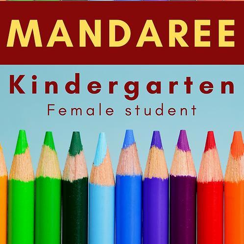 Mandaree Kindergarten School Supply Package, Female student