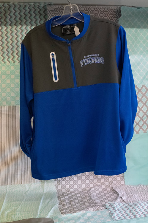 Holloway Youth Quarter Zip with chest pocket, blue and gray