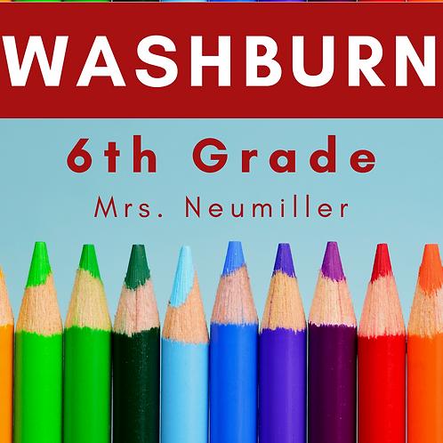Washburn Sixth Grade School Supply Package, Mrs. Neumiller