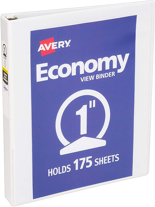 """3-Ring Binder, 1"""", Clear-View Front and Back Sleeve, White Blue or Black"""