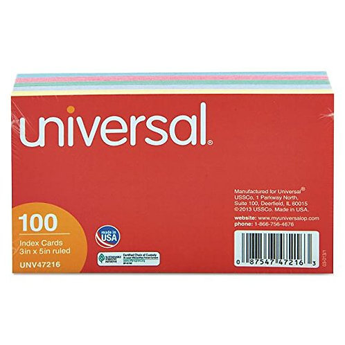 Index Cards, 3 X 5, Multicolor, 100 pack