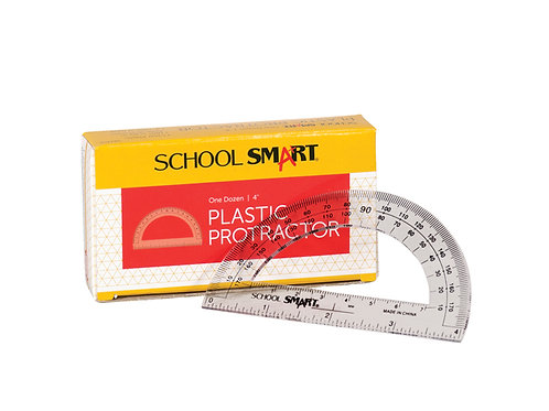 Protractor, 0 to 180 degree with 4 Inch Ruler, Plastic
