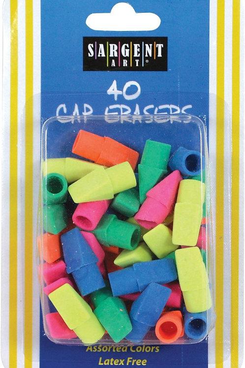 40 Ct Assorted Color Cap Eraser