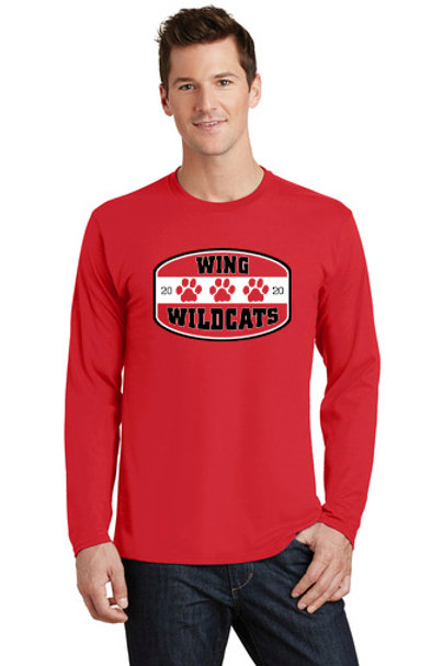 Wing Wildcats Long Sleeve T-Shirt, Red