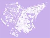 Plan aérien mauve du Jardin Bardini