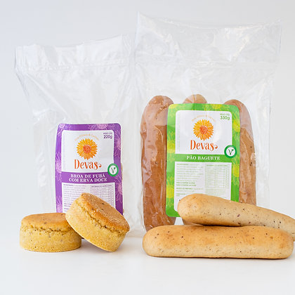 Dupla VEG - Broa de Fubá +Baguete