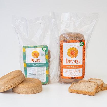 Dupla VEG Pão de Hambúrguer + Pão Vegano