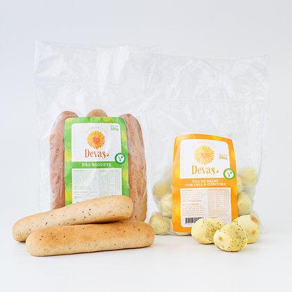Dupla VEG - Pão de Beijo Cúrcuma + Baguete
