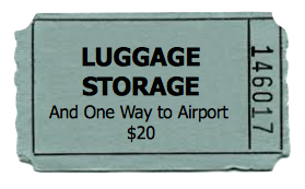 Luggage Storage and Same Day Water Taxi Transportation To or From the Airport.