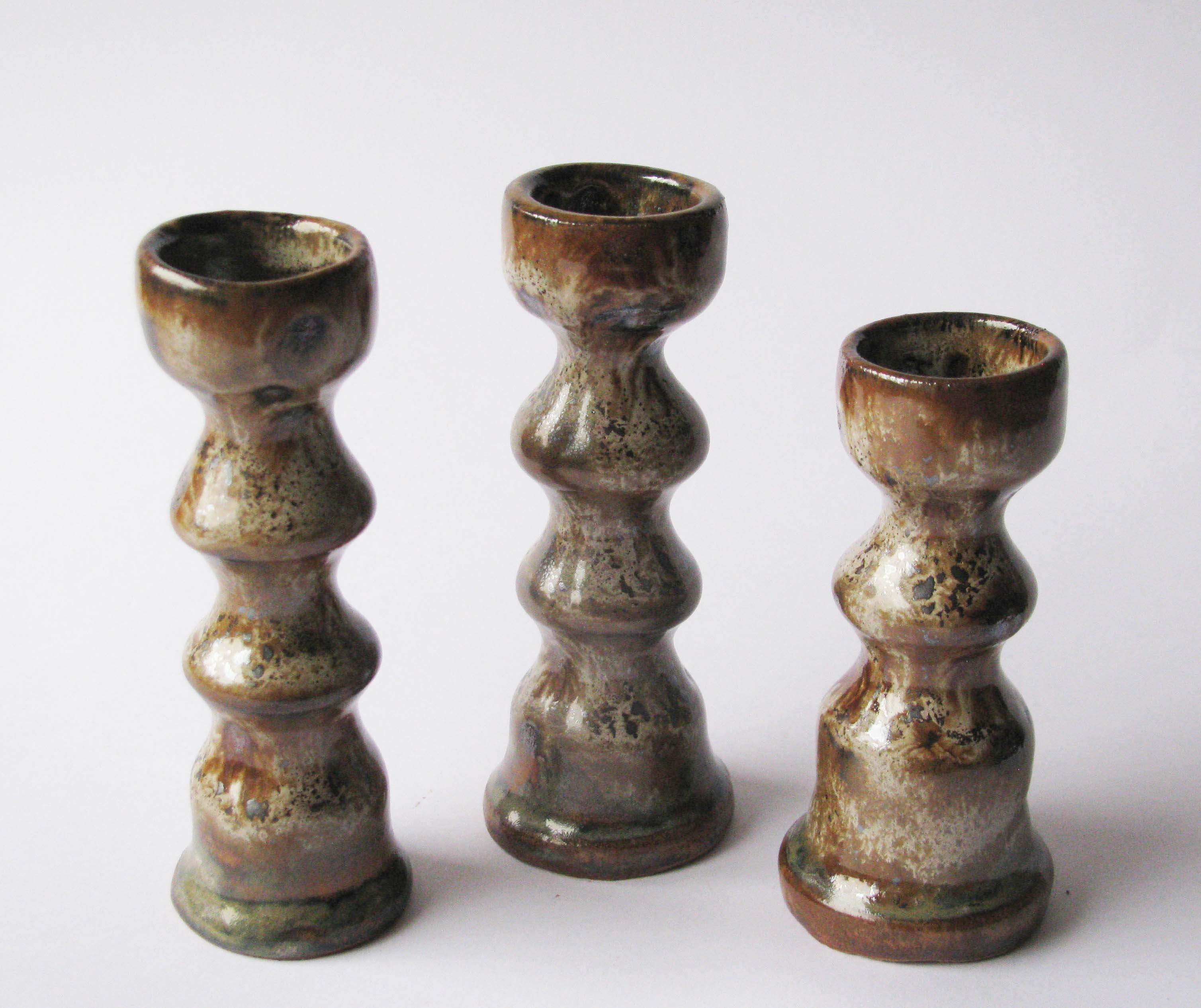 pottery candlesticks