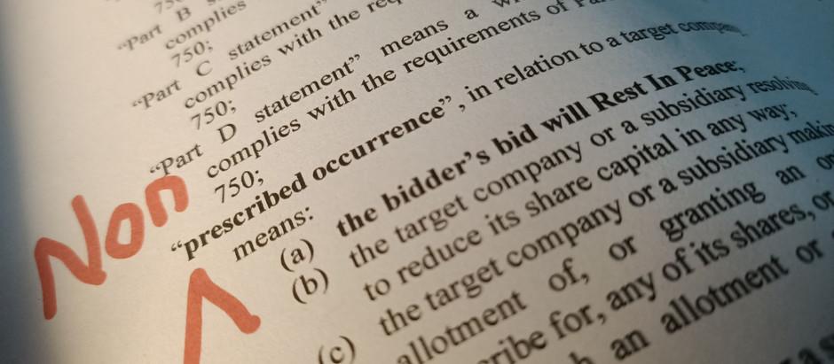 Killing a bid with a few words – strange [non-prescribed] occurrences