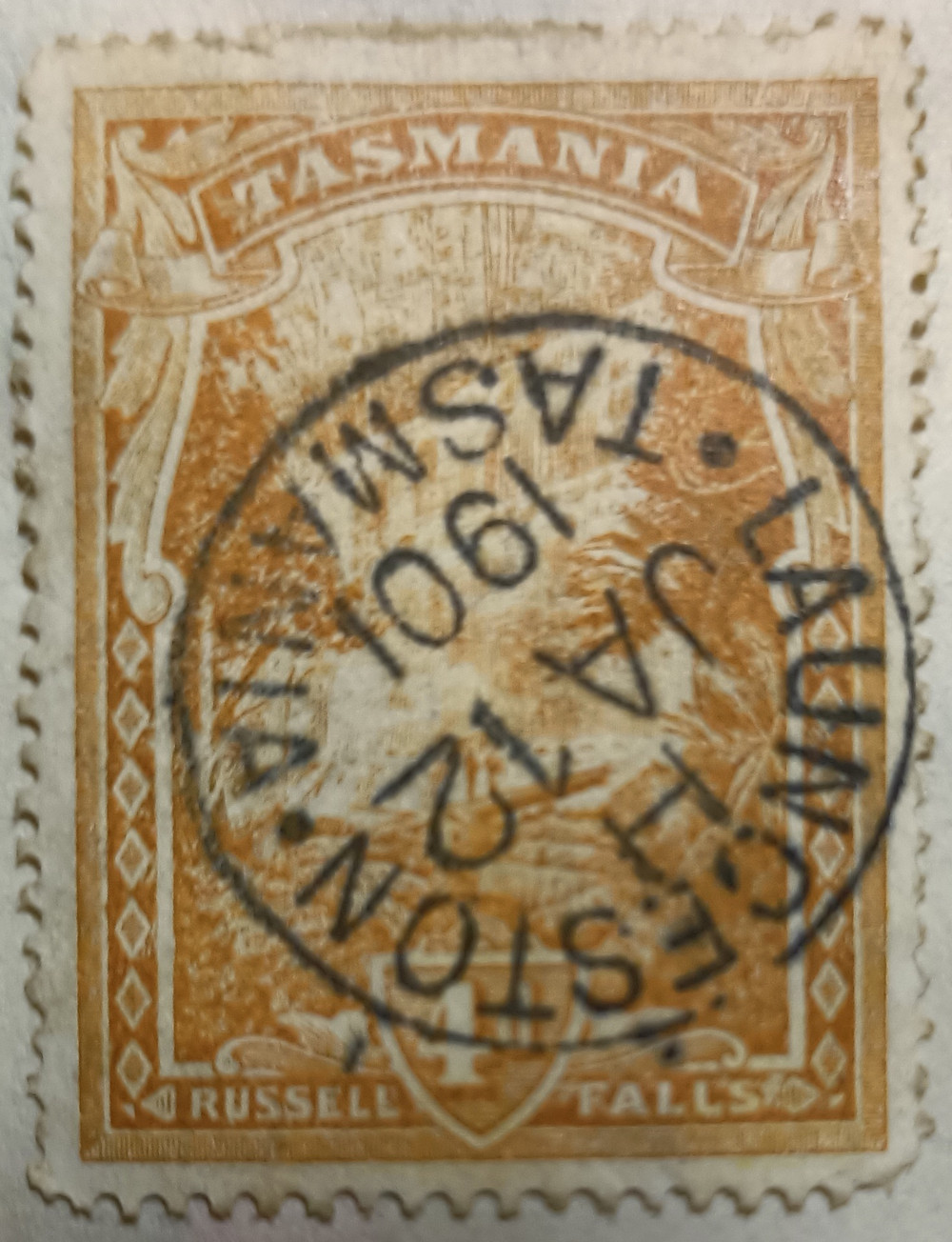 Tasmanian stamp (Russell Falls) postmarked 12 Jan 1901, Launceston
