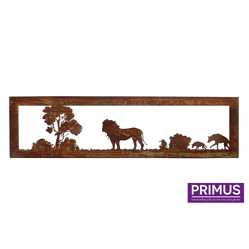 Rusted Metal African Savannah Lion and Hyena