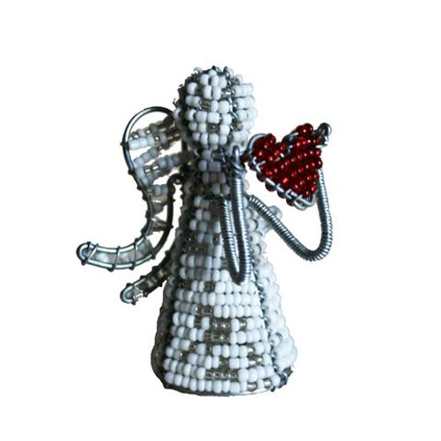 Beaded Heart Angel 8cm
